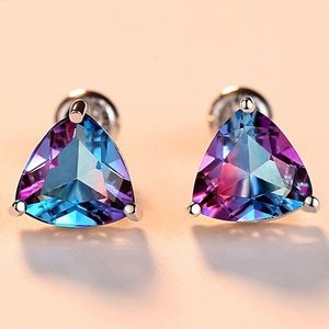 925 Sterling Silver Rainbow Topaz Stud Earrings